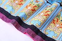 中国红边蓝底纹面料