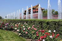 北京天安门花坛喷泉