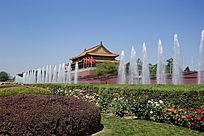 北京天安门喷泉