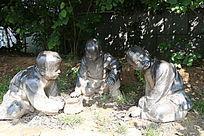 童趣铜雕打弹子小男孩雕像