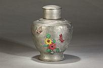 锡制彩绘花纹茶叶罐