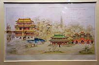 萨科齐赠胡锦涛同志的(中国古建筑)水彩画
