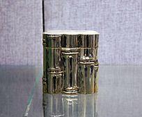 竹节形四方银盒