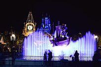 迪士尼喷水夜景