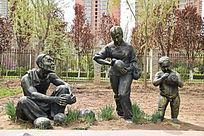 古代瓜地里的农夫和孩子