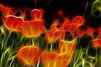 橘黄色郁金香抽象艺术画