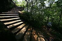 攀岩在山中的石路