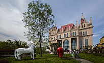 欧式建筑及广场雕塑