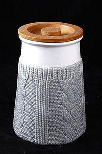 针织纹理瓷罐