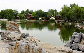 北京大观园园林湖泊图片