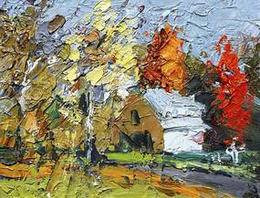 油畫秋天的村莊