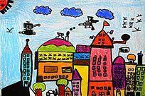 城市建筑水彩画