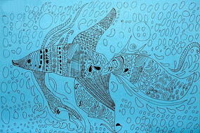 钢笔鱼装饰画