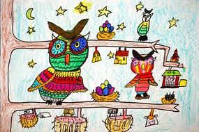 树上猫头鹰卡通画