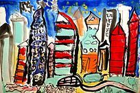 城市抽象装饰画