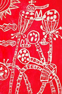 红色荷花版画
