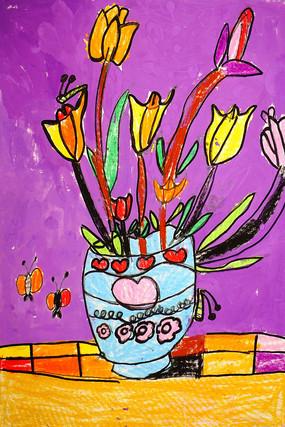 花卉盘景卡通彩画