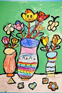 花卉水彩卡通画