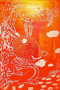 兔子创意卡通画