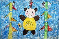 熊猫蜡笔彩画