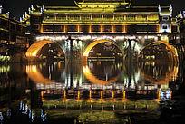 凤凰古城虹桥夜景