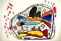 卡通鱼水彩国画