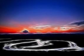 电脑抽象画《暮色之河》