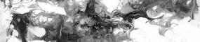 黑白流彩抽象油画