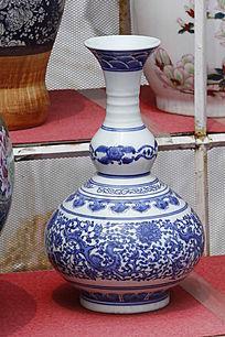彩花蓝花葫芦形花瓶
