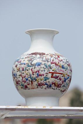 彩绘百子圆花瓶