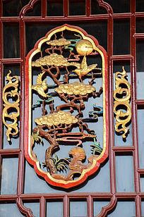 灵芝喜鹊木窗