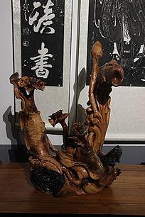 鲤鱼荷花艺术木雕