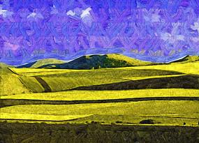 电脑抽象画《金色田野》