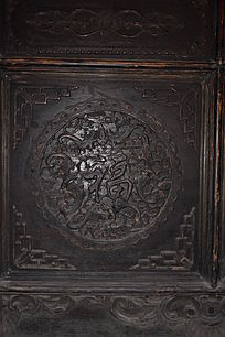 翩蝠纹理福字-圆形木雕