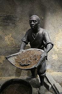 二锅头制作工艺人物雕像晒粮食
