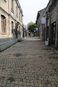 老北京砖墙砖路街景