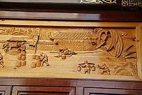 木雕古代打井水挑粮食场景
