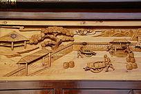 木雕古代独轮车运粮食场景