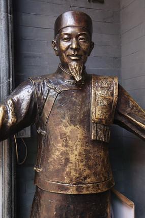 铜雕古代东来顺伙计雕像