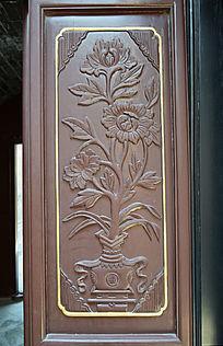 门板浮雕-花朵图案木雕