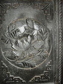 牡丹花-花朵图案木雕