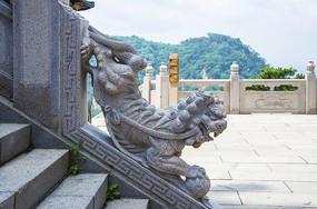 千山弥勒宝塔围栏石阶公石狮雕塑