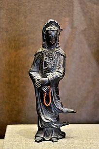 清代铜数珠观音菩萨像