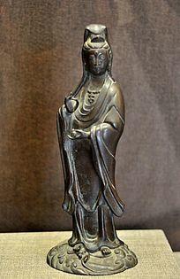 清铜鳌鱼观音菩萨像