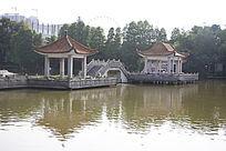 园林景观小桥凉亭
