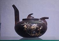 单色刻填花卉纹长柄壶紫陶