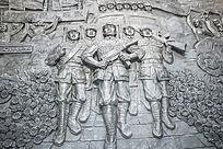 墙面的红军雕塑
