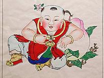 杨柳青年画童子献桃