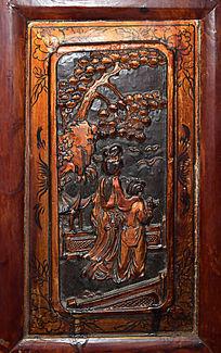 古装人物背景木雕-人物木雕刻