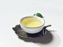 金属茶垫和一杯普洱茶